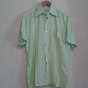 Vintage Light Green Men's Shirt Arrow Short Sleeve